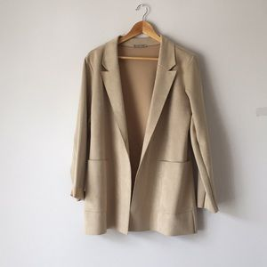 Zara Faux Suede Blazer - Jacket in cream